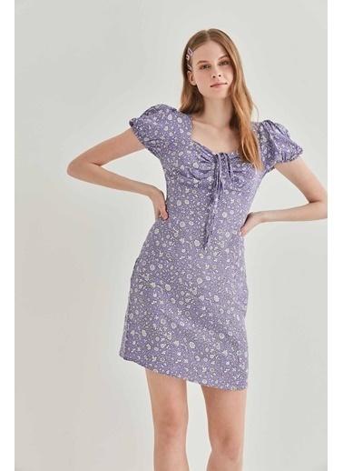 Vitrin VİTRİN Yaka Bağcık Detaylı Minik Kol Elbise Lila